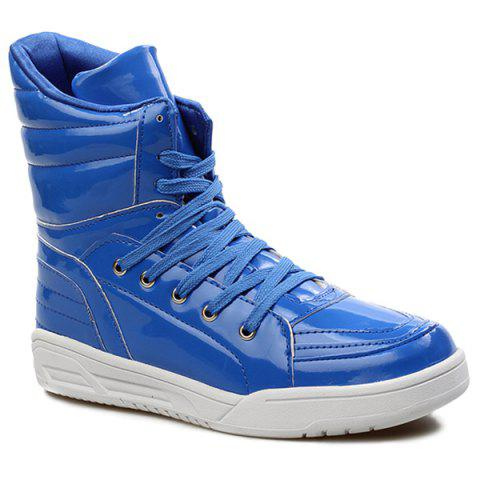 Casual Lace-Up Patent Leather Boots - Blue - 44