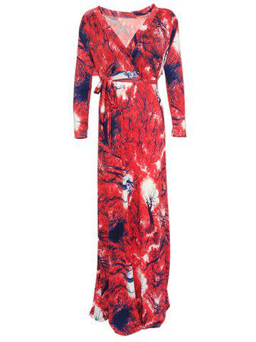 New Wrap Abstract Print Maxi Dress