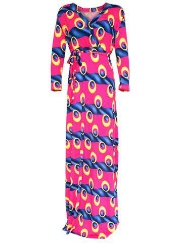 Cheap Wrap Eye Print Maxi Dress