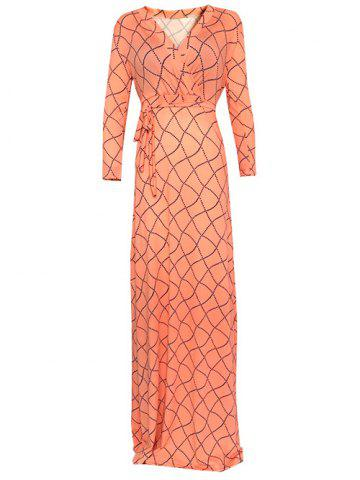 Chic Wrap Wavy Checked Long Sleeve Maxi Evening Dress ORANGEPINK 5XL
