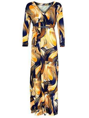 Fashion Abstract Maxi Wrap Dress