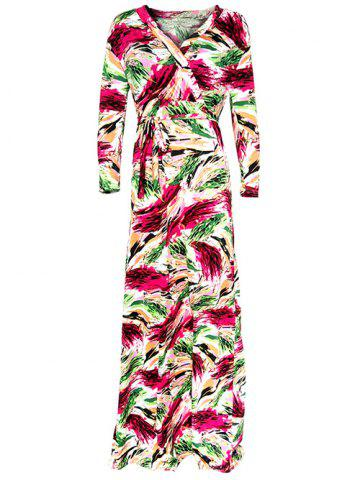 Hot Wrap Colorful Printed Maxi Dress