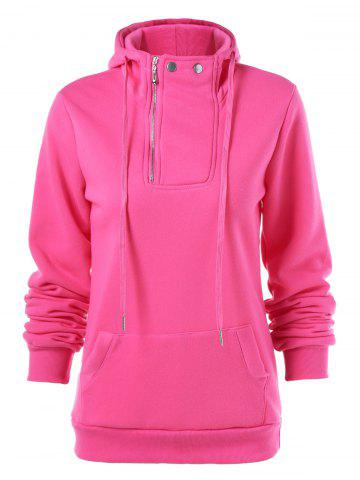 Drawstring Pocket Design Zippered Hoodie - Rose Red - S