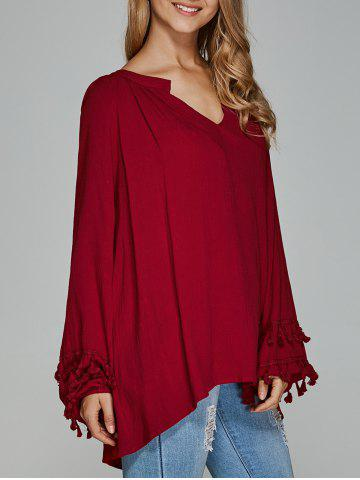 Affordable V-Neck Asymmetrical Fringed Blouse