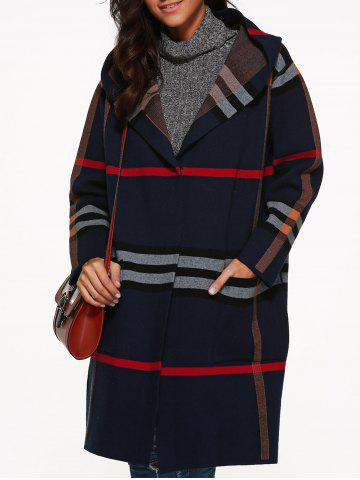 Store Hooded Plaid Coat with Pockets