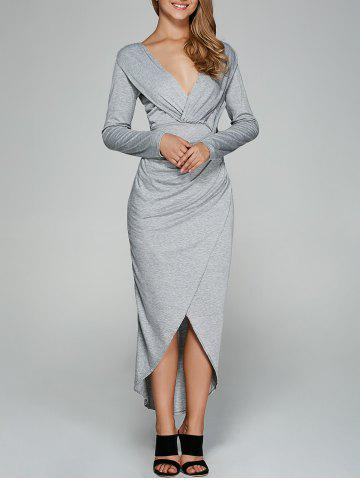 Affordable Asymmetrical Tulip Shape Twist-Front Dress LIGHT GRAY XL