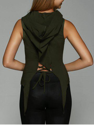 Chic Hooded Lace-Up Asymmetrical Tank Top