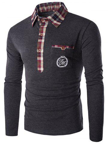 Store Plaid Collar Embroidery Long Sleeve T-Shirt GRAY 2XL