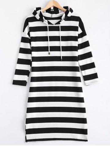 Outfits Hooded Side Slit Striped Dress