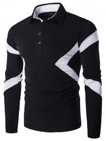 Slim-Fit Spliced Long Sleeve Polo Shirt - Black - 2xl
