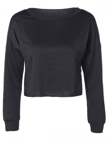 Online Drop Shoulder Round Collar Raw Edge Crop Sweatshirt