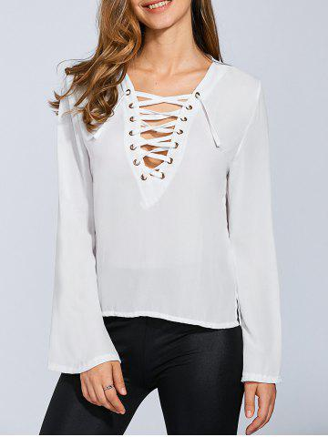 Buy Lace-Up Flare Sleeve Top
