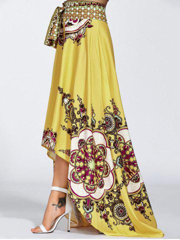 Unique High Waisted High Low Hem Skirt - XL YELLOW Mobile