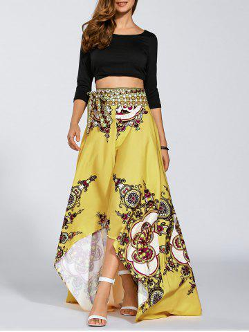 Fashion High Waisted High Low Hem Skirt - XL YELLOW Mobile