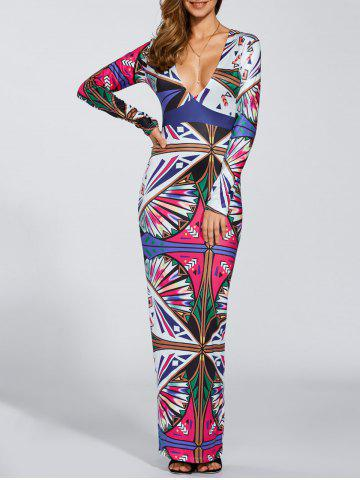 Store Plunging Neck Printed Maxi Dress