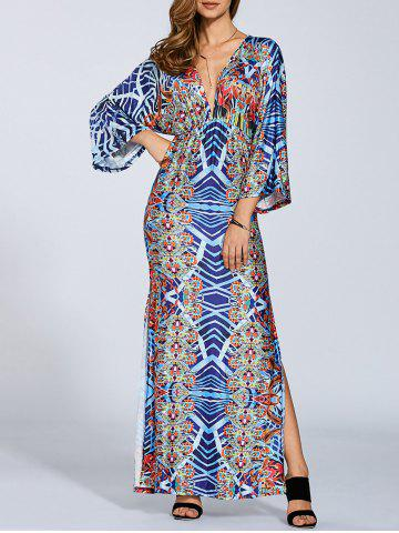 Shops Plunging Neck Kimono Sleeve Maxi Dress
