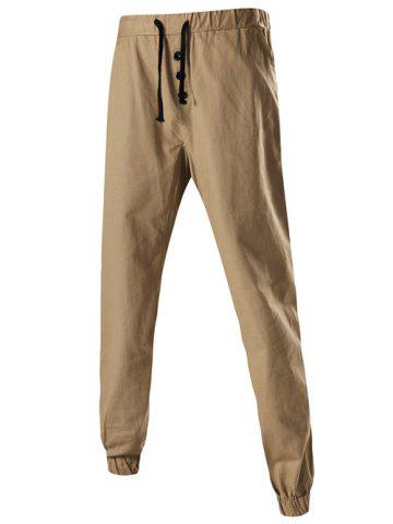 Cheap Button Embellished Drawstring Jogger Chino Pants KHAKI 3XL