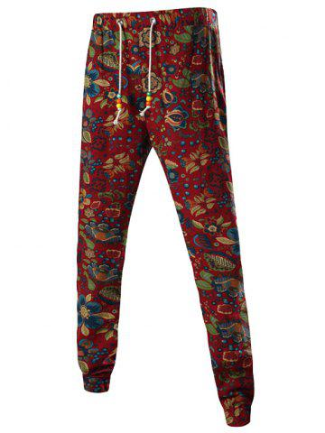 Outfit Floral Print Mid-Rise Linen Drawstring Jogger Pants RED XL