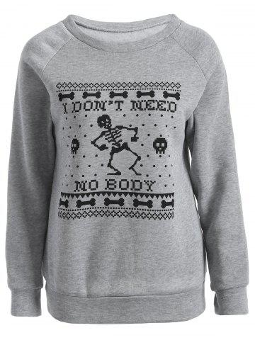 Outfits Skeleton Printed Sweatshirt GRAY 2XL