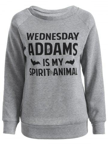 Online Wednesday  Addams Letter Sweatshirt GRAY 2XL