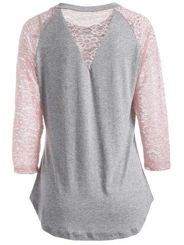 Lace Spliced See Through Sleeve Blouse - GRAY 2XL