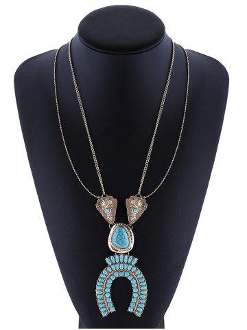 Store Layered Horseshoe Faux Turquoise Necklace SILVER