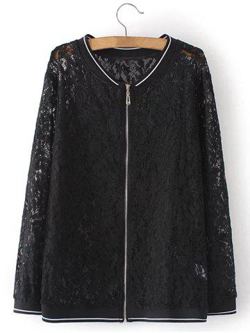 Store Plus Size Lace Zip Up Jacket