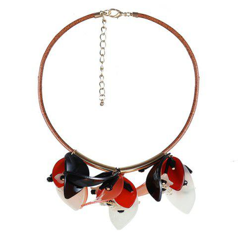 Shops Faux Leather Rope Resin Flower Necklace