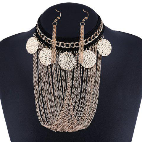 Store Disc Fringe Chain Drape Metal Necklace Set