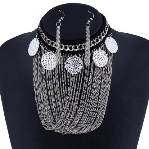 Buy Embossed Disc Fringe Metal Necklace Set