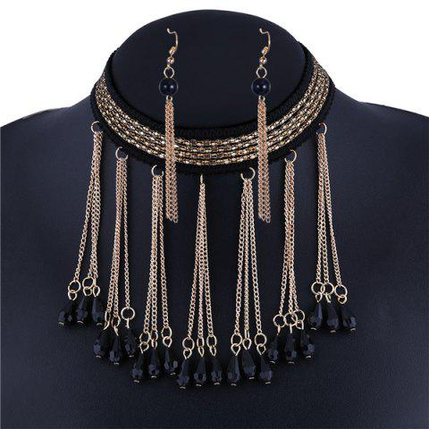 Fancy Teardrop Knitting Line Alloy Chain Necklace Set