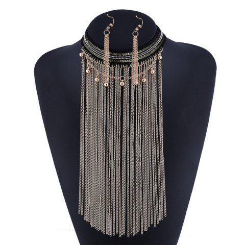 Buy Beaded Longline Alloy Chain Necklace Set