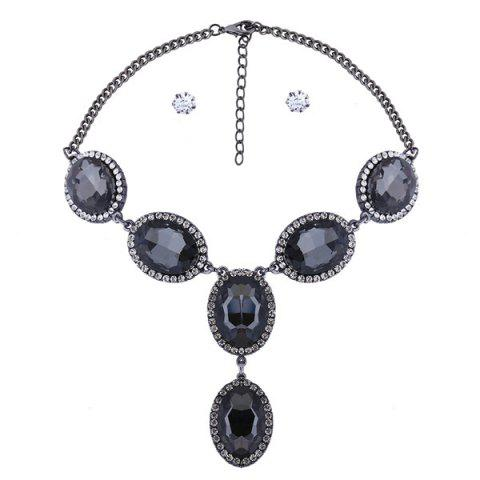 Online Rhinestone Oval Faux Gem Necklace Set