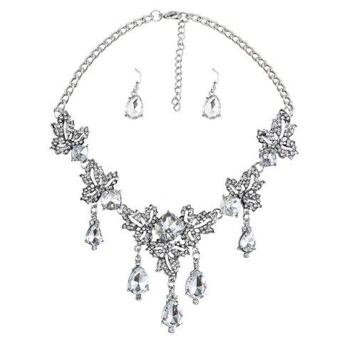 Outfit Rhinestone Water Drop Maple Leaf Necklace Set