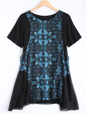 New Plus Size Asymmetric Retro Print Dress