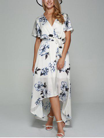 Cheap Belted High Low Surplice Printed Dress