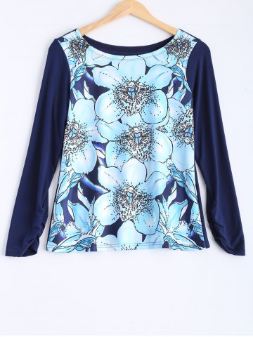 Outfits Flower Print Plus Size Long Sleeve T-Shirt BLUE 5XL