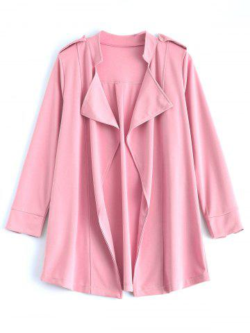 Fashion Drape Front Epaulet Trench Coat PINK 5XL