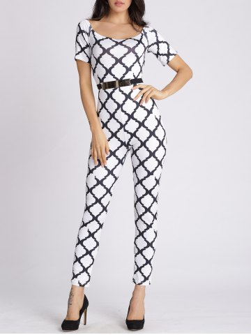Shops U Neck Printed Slimming Jumpsuit WHITE XL