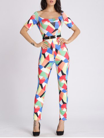 Chic U Neck Colorful Geometric Jumpsuit