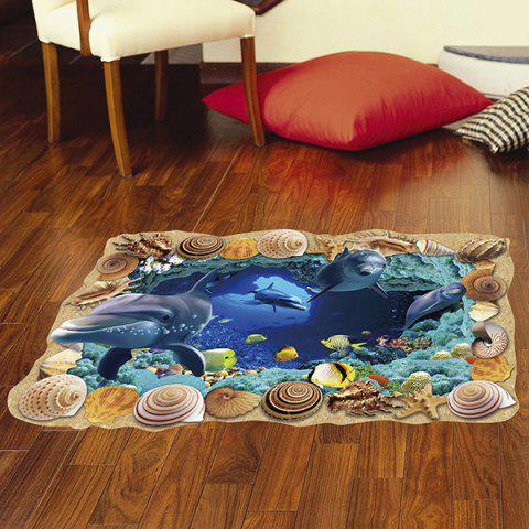 Cheap Creative Removable 3D Sea Caves World Bedroom Kindergarten Floor Sticker COLORMIX