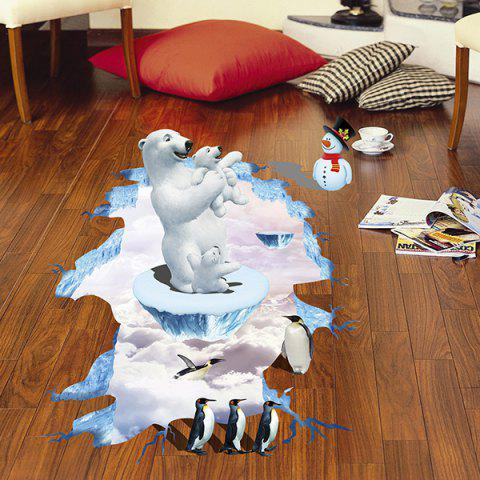 Outfit Creative Removable 3D Polar Bear Penguins Bedroom Kindergarten Floor Sticker COLORMIX