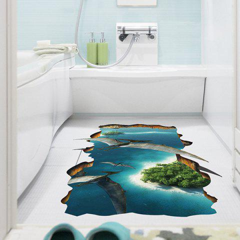 Online Creative Removable 3D Pterosaurs Animal World Toilet Floor Sticker COLORMIX