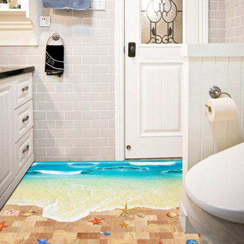 Shop Creative Removable 3D Beach Toilet Floor Sticker COLORMIX