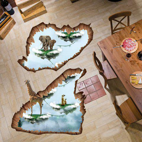 Unique Creative Removable 3D Floating Island Bedroom Kindergarten Floor Sticker