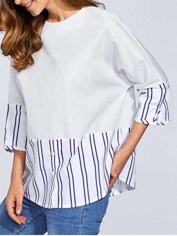 Discount Round Neck Striped Cocoon Blouse