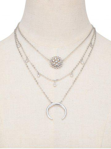 Hot Moon Flower Layered Pendant Necklace