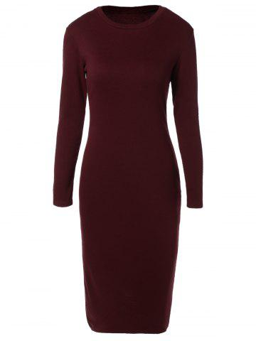Affordable Long Sleeve Back Slit Pencil Dress WINE RED XL