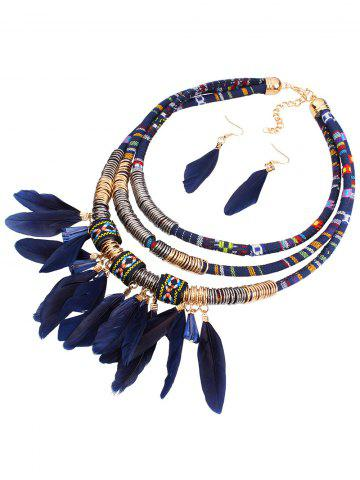 Ethnic Layered Feather Jewelry Set - BLUE