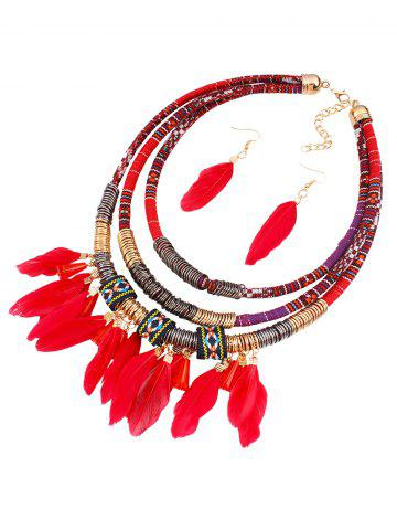 Cheap Ethnic Layered Feather Jewelry Set - RED  Mobile